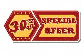 30 Percentages Off Special Offer - Retro Label