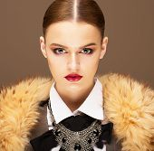 Elegance. Sophisticated Haughty Woman In Fur Collar. Lifestyle