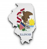 image of state shapes  - Shape 3d of Illinois state map with flag isolated on white background - JPG