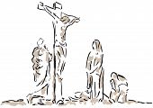 stock photo of golgotha  - Illustration of the crucifixion of Jesus and the thieves - JPG