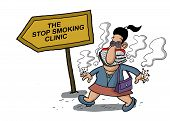 foto of anti-cancer  - A woman goes to a smoking clinic with her mouth full of cigarettes - JPG