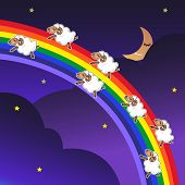 picture of counting sheep  - Seven sheep jumping on a rainbow in the night with a happy face - JPG
