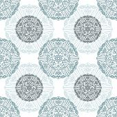 pic of symmetrical  - Vector Ornate Floral Seamless Texture Pattern with round decor - JPG