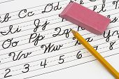 pic of cursive  - Example of cursive writing with a pencil and easer Learning cursive writing - JPG