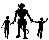 picture of ogre  - Editable vector silhouettes of two children leading a lizard monster by the hands with figures as separate objects - JPG