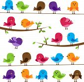 stock photo of caged  - Collection of cartoon birds - JPG