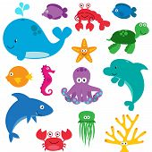 stock photo of water animal  - Collection of cartoon sea animals - JPG