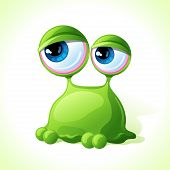 stock photo of amoeba  - Vector cute green monster isolated on white background - JPG