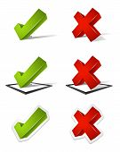 picture of confirmation  - Various three dimensional green check mark and red x mark icons - JPG