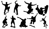 stock photo of siluet  - Skateboarding vectors from my sports vectors collection - JPG
