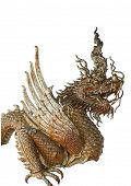 picture of hade  - Hade of Golden Dragon statue on white blackground - JPG
