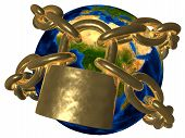 stock photo of illuminati  - 3D picture of world bound in golden chain - JPG