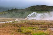 Iceland: Smidur Geyser At Overcast Weather