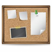 Illustration Of Bulletin Board With Blank Notes And Photos