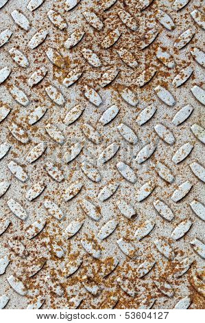 Rusted Gray Diamond Metal Plate Background Texture