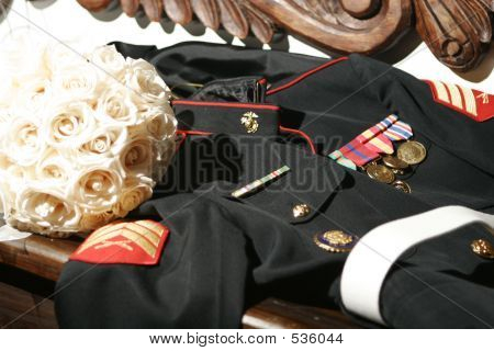 Marine Soldier Uniform And Flowers