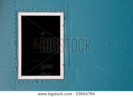 Abstract Detailed Blue Metal Wall Background Texture With Window