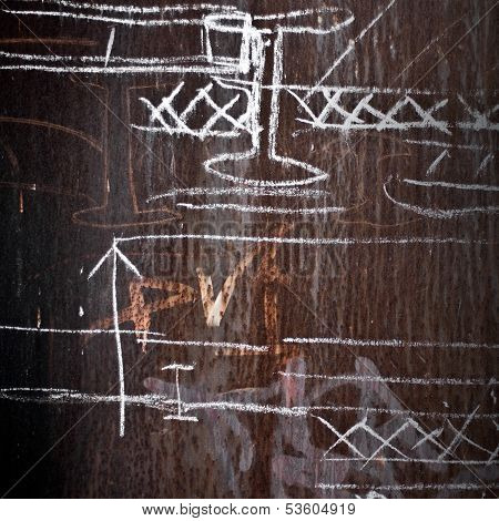 Abstract Background Texture: Rusted Metal Wall With A Chalky Technical Drawings On It