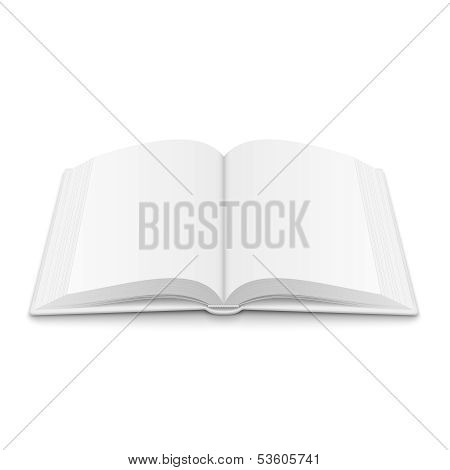Blank opened book template with soft shadows.