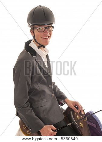 Handsome Young Man With Horses Saddle