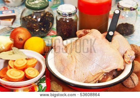 Chicken Meat, Vegetables And Spices.