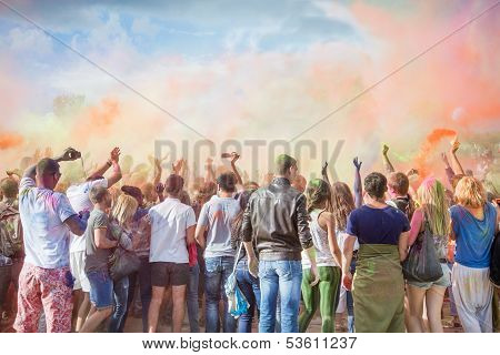 Tourists celebrate festival Holi