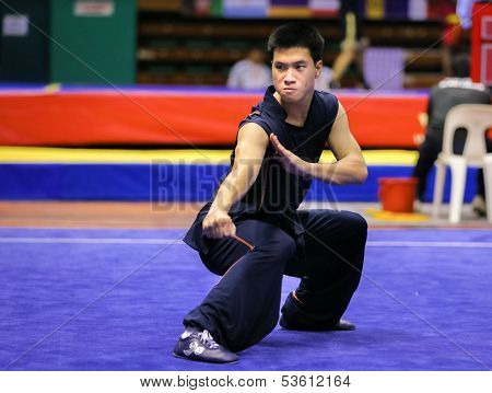 KUALA LUMPUR - NOV 03: Cedric Chung of Australia shows his fighting style in the 'nan quan compulsory' event at the 12th World Wushu Championship on November 03, 2013 in Kuala Lumpur, Malaysia.