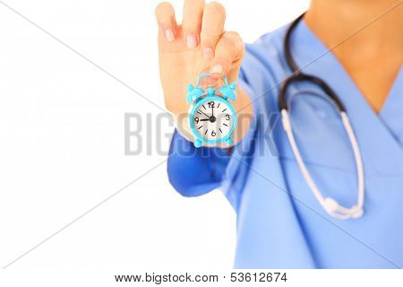 A picture of doctor's hand showing a clock over white background