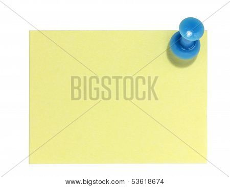 Rectangular sticky note with blue pin