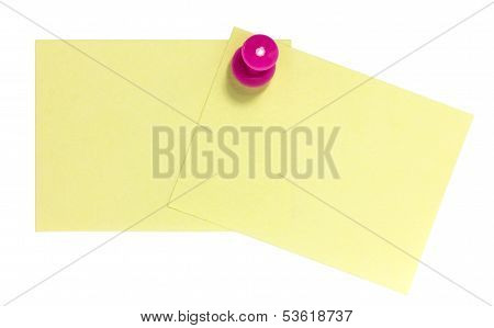 Double rectangular sticky note with pink pin