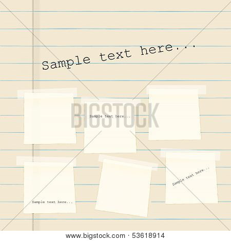 Vector paper banners on background of lined paper