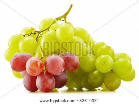 Bunch Of Fresh Grapes Isolated On White