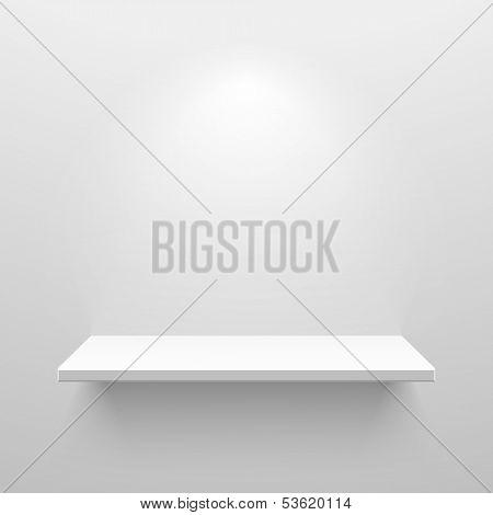 Empty white shelf for exhibit. Vector.