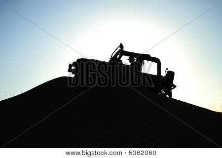Jeep Crusing In Desert
