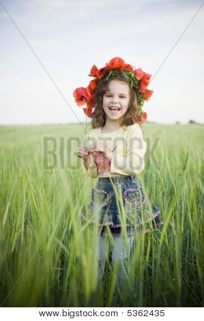 Laughing Little Girl In Floral Wreath