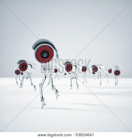 3d image of running robot cctv