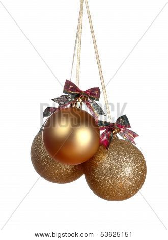 Three Gold Christmas Balls