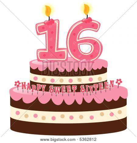 Pastel dulce dieciséis con velas numerales