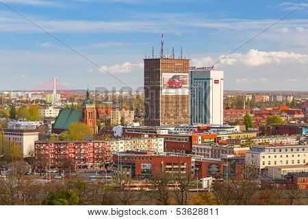 GDANSK, POLAND - 29 OCT 2013: Panorama of Gdansk city centre on 29 October 2013. Gdansk is a Polish city on the Baltic coast, one of the main seaport and center of Tri City metropolitan area.