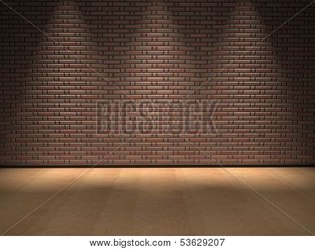 Concept or conceptual retro wood, wooden floor and old brick wall with spot lights vintage background design