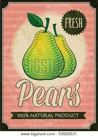 vector vintage styled fresh pears poster