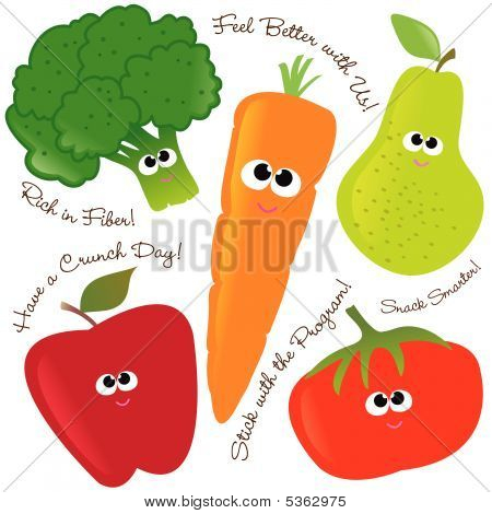 Mixed fruits & vegetables set 2 Vector