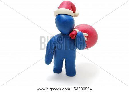 3D Santa Claus Carrying Sack