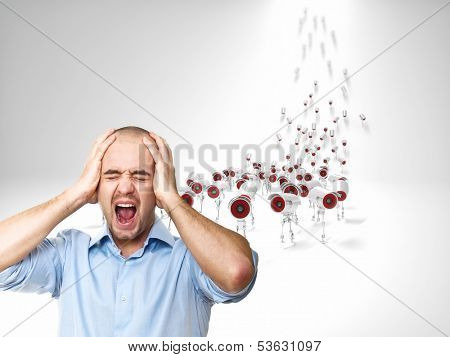 stressed man and multitude of cctv