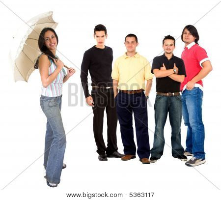 Casual Girl With Men