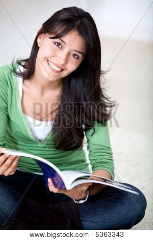 Beautiful Woman Studying