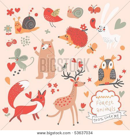 Cartoon set of cute wild animals in the forest: bear, fox, hedgehog, rabbit, snail, deer, owl, bird, mouse. Vintage childish set in vector.