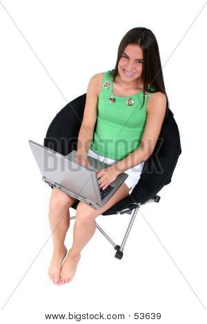 Barefoot Teen With Laptop Over White