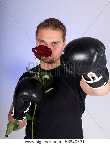 Man In A Boxing Gloves Holding A Red Rose