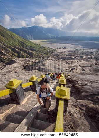 Visitors Climbing Stairs Towards the Rim of Gunung Bromo Volcano